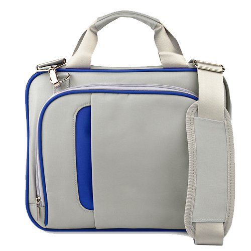 Titanium Silver with Navy Blue 13 inch Messenger bag for your Toshiba Satellite U840 Ultrabook bag is shock absorbent, fully padded exterior and interior + Vangoddy Live Laugh Love Bracelet + Universal Earbuds.