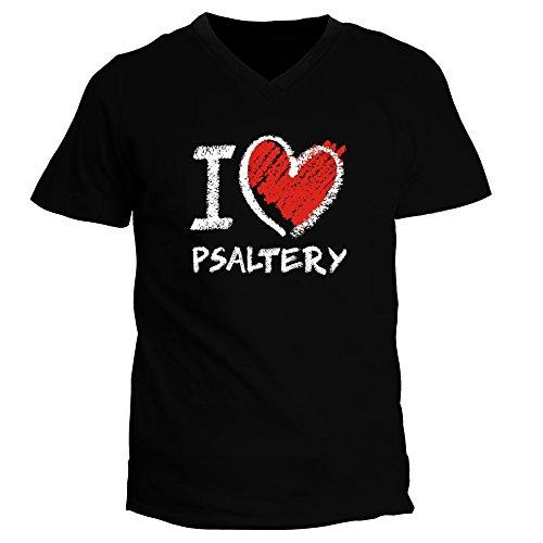Idakoos I Love Psaltery Chalk Style Heart Musical Instrument V-Neck T-Shirt