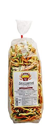 Frische Strozzapreti Tricolor (Priesterwürger) Nudeln aus Italien 500g - Original Strozzapreti Pasta - trafila in bronzo - Handwerkliche VerarbeitungItalien