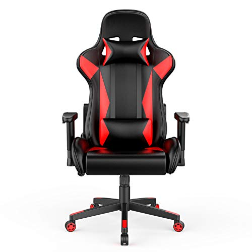 Amazon Basics Gaming/Racing Style Office Chair with Removable Headrest and High Back Cushion – Red