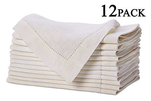 Pure Linen Oversized Napkins 12 Pack - Pure Linen Hemstitch Napkins - (Set of 12) Size 20x20 Ivory - Hand Crafted and Hand Stitched Napkins with Hemstitch detailing on Genuine ()