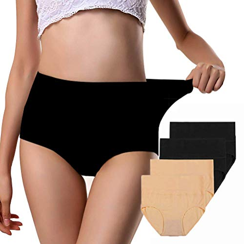 (Annyison Women Panties 2-5 Pack, Soft Cotton High Waist Breathable Solid Color Briefs Panties for Women (Four Pack in Multicoloured1, XXL))