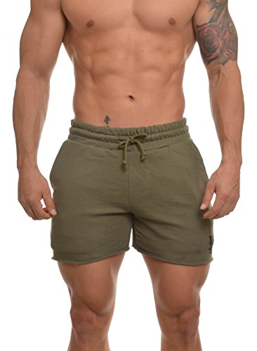 YoungLA Men's French Terry Solid Bodybuilding Gym Running Workout Shorts 102 Olive ()