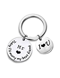 Wedding Gift Couple Keychain Today I'll Marry My Best Friend Husband Keychain for Her