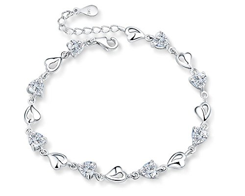 Sterling Silver Multiple Hearts Link Chain Bracelet, Adjustable, Great Gift For Women, White by Forfamilyltd