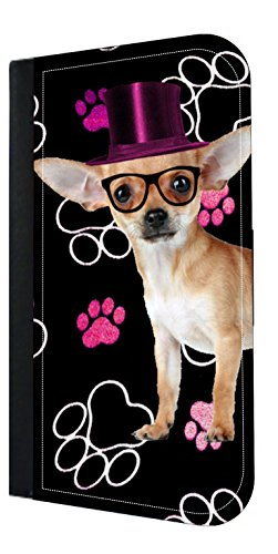 Hipster Chihuahua in a Pink Top Hat - Pawprints - Wallet Style Flip Phone Case Compatible with s3/s4/s5/s6/s6edge/s7/s7edge/s8/s8Plus - Select Your Compatible Phone Model