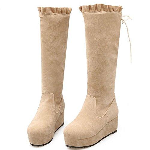 Hiver Femmes Hautes Mode Beige Coolcept Pour Plateforme Compensées Lacets h Bottes Avec 4cTdzq