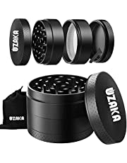 Herb Grinder, UZAKA Best Spice Herb Grinder Portable 2 Inch 4 Layers, 40 Sharp Grinding Teeth, Magnetic Lid Zinc Alloy Material with Carrying Pouch Black