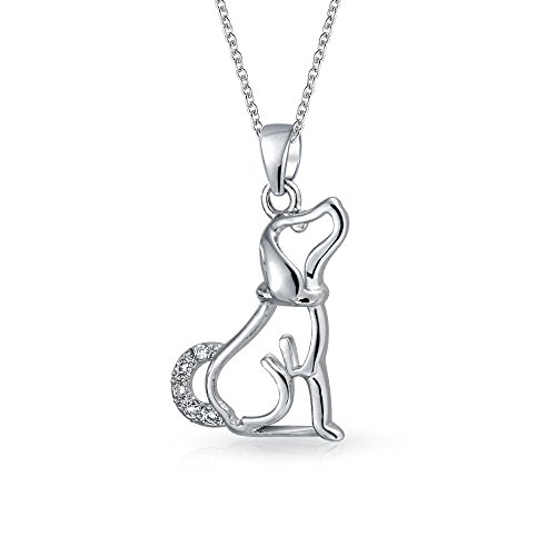 Bling Jewelry Pave CZ Open Dog Silhouette Pendant Rhodium Plated Necklace 18 Inches
