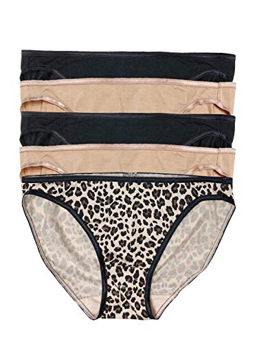 Low Rise Bikini Panty - Felina | So Smooth Low Rise Bikini Panties | Seamless Underwear | 5 Pack (Cheetahlicious, Small)