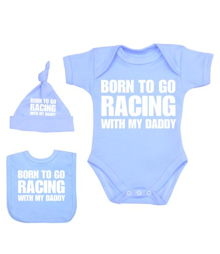 BabyPrem Baby Born to go Racing with My Daddy Bodysuit Set 0-12 mth Sky 0-3]()