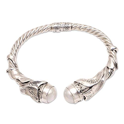 NOVICA White Cultured Freshwater Pearl .925 Silver Cuff Bracelet, Ethnic Glow'