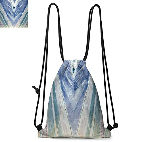 Trans Blue Protective Case - Marble Easy to carry drawstring backpac Onyx Stone Tribal Style with Color Elements Agate Authentic Pattern Durable Drawstring Backpack W13.4 x L8.3 Inch Teal Dark Blue Light Grey