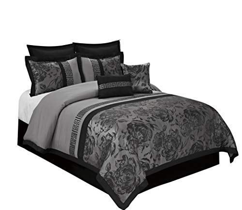 (BEDnLINENS 8 Piece Tang Jacquard Fabric Patchwork Comforter Set Queen King Calking Size (Cal.King, Gray))