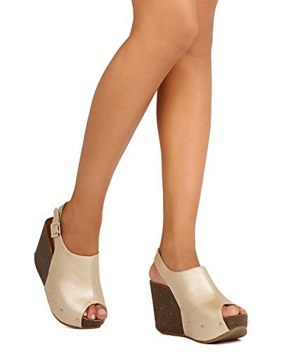 Refresh FG29 Women Metallic Leatherette Peep Toe Platform Wedge Slingback Mule - Champagne (Size: 7.5)