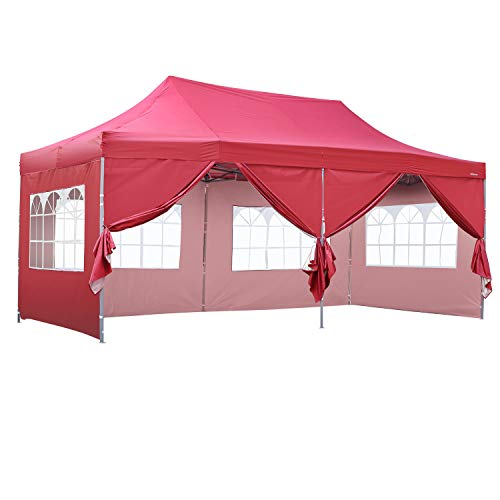 (Outdoor Basic 10x20 Ft Wedding Party Canopy Tent Pop up Heavy Duty Instant Gazebo with Removable Sidewalls and Windows Red)