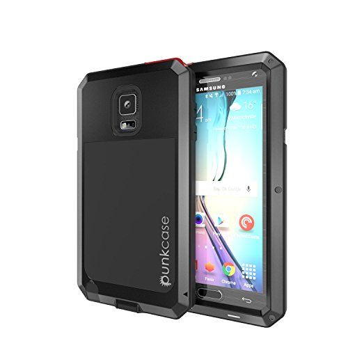 ase METALLIC Black w/ Tempered Glass Screen Protector Shockproof Dirt-proof Snow-proof Slim Metal Cover Armor Case Samsung NOTE 4 ()