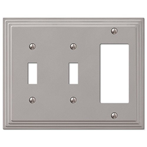 Decora Toggle 1 (Step Design Double Toggle and GFI Decora Rocker Combination Wall Switch Plate Outlet Cover - Satin Nickel)