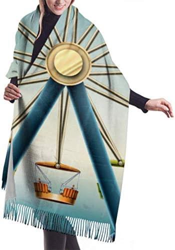 Wickelschal Große Schals Fransenschal Womens Winter Scarf Cashmere Feel Ferris Wheel Vintage Grunge Eps Scarves Stylish Shawl Wraps Soft Warm Blanket Scarves For Women