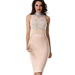whoinshop Women's Beaded High Neck Long Sleeve Midi Mesh and Bandage Party Dress