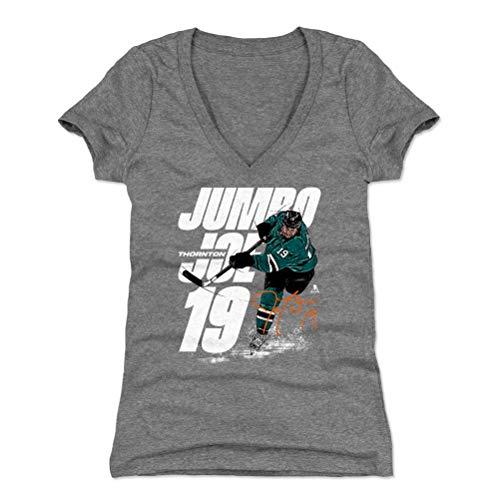 500 LEVEL Joe Thornton Women's V-Neck Shirt (XX-Large, Tri Gray) - San Jose Sharks Shirt for Women - Joe Thornton Jumbo W ()