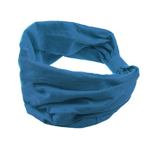 DZT1968(TM)Women Cotton Wide Knit Turban Knotted Headband Head Wrap Hair Band For Sports Bath Make Up (Dark cyan)