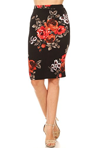 Private Label Womens Regular SizeL Print Pencil Skirt. Made In USA (Large, Black-Floral)