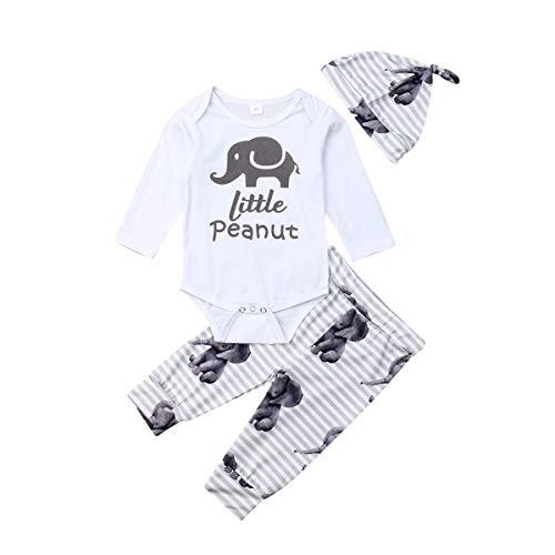 Price comparison product image Newborn Baby Boy Outfits Set Elephant Long Sleeve Romper Bodysuits Jumpsuits Pants Hats Clothes (Whtie,  0-6 M)