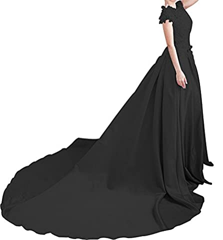 LiCheng Bridal Lace Top Keyhole Open Back Satin Prom Dress With Sweep Scoop Full Length Party Ball Gowns Black US22 - Full Sweep Gown