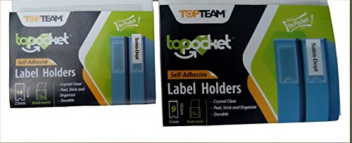 Self Adhesive Label Holder with Blank Insert, 2 sizes, 27 piece Bundle by WalkDisLife Top Pocket (Image #2)