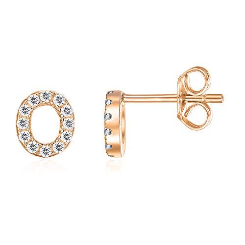 PAVOI 14K Rose Gold Plated Sterling Silver CZ Alphabet Letter Earrings | Initial Earrings for Girls | Letter O