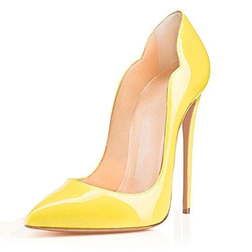 Ubeauty Aiguille Chaussures Taille Laçage Rouge Femmes Grande Talon Escarpins Soles Jaune Stiletto 1raA01wq