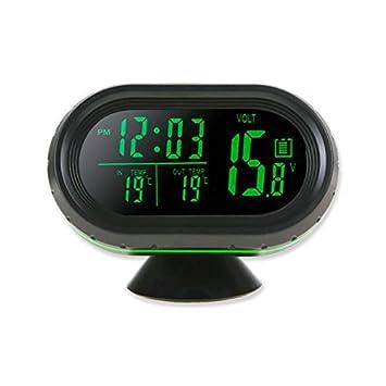 Reloj digital termometro voltímetro bateria alerta temperatura exterior interior: Amazon.es: Hogar