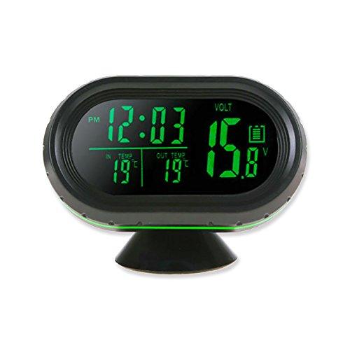 1a81f74734cf Reloj digital termometro voltímetro bateria alerta temperatura exterior  interior