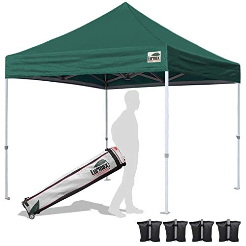 Eurmax 10'x10'Pop Up Canopy Tent Commercial Canopies with Heavy Duty Roller Bag,Bouns 4 sandbag Weights for Canopy(Forest Green) ()