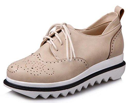 IDIFU Women's Retro Mid Wedge Heels Platform Lace Up Sneakers (Beige, 8 B(M) US)