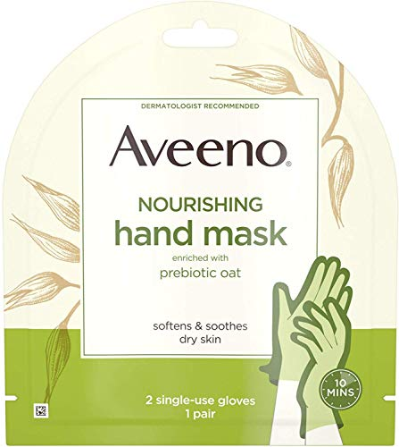 Aveeno Nourishing Hand Mask Enriched with Prebiotic Oat for Dry Skin, 2 Single-Use Gloves 1 ea (Pack of 3)