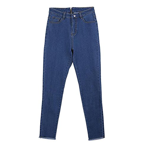 Pantaloni Blu Skinny Elasticizzati Push up A Ziper Alta Denim Slim Indietro Donna Vita Hzjundasi Jeans Leggings qxZwUvng