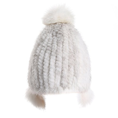 X'NERVS Womens Genuine Mink Fur Beanie Hat with Fox Fur Pompom Acrylic Knitted Lining by X'NERVS