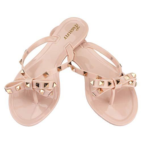 Studded Flat Sandals - Tengyufly Womens Rivets Bowtie Flip Flops Jelly Thong Sandal Rubber Flat Summer Beach Rain Shoes(US9=EU41=25.5CM,Pink Beige)