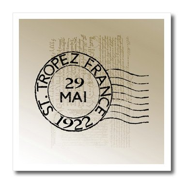 3dRose ht_79311_3 St Tropez Vintage French Art Postage Stamp Iron on Heat Transfer, 10 by 10