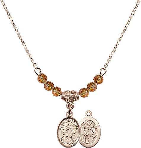 18-Inch Hamilton Gold Plated Necklace with 4mm Topaz Birthstone Beads and Gold Filled Saint Sebastian/Wrestling Charm. by F A Dumont