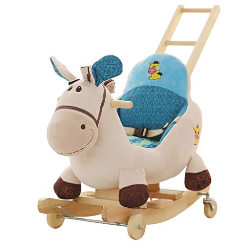 WHTBB Child Rocking Horse Kid Ride on Toy for 1-3 Year Old Boy Girl Animal Rocker Rocking Chair Rocking Horse Trojan Children with Push Rod Rocking Horse Dual-use Music Educational ()
