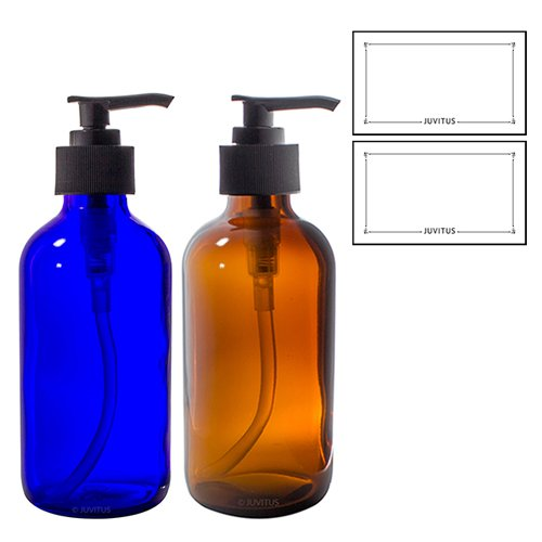 Cobalt Blue and Amber Boston Round 8 oz Thick Glass Lotion Pump Bottle Set + - 8 Oz Bottle Lotion Spray