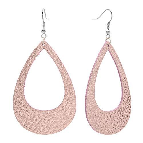 Womens Teardrop Real Leather Earrings Large Hollow light Black Navy Dangle Drop Earrings for Girls