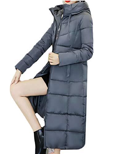 security Women Winter Down Jacket Hoodie Zip Puffer Thicken Warm Overcoat Gery