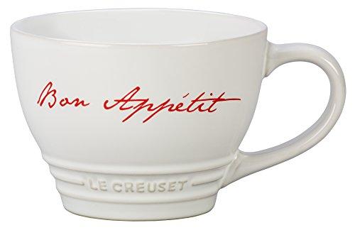 Le Creuset PG8014BA-1116 Stoneware Bistro Mug, 14 oz, White