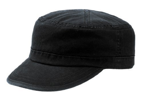 Wholesale Enzyme Washed Cotton Army Cadet Castro Hats (Black) - 20766
