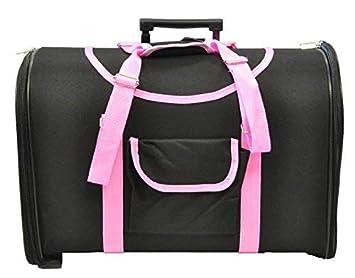 Transportín con ruedas negro y rosa trolley (49 largo x 30 ancho x 36 cm alto): Amazon.es: Productos para mascotas