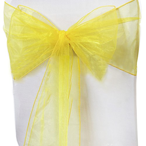 Amyove Transparent Gauze Chair Sashes Organza Chair Back Yarn, Beautiful Chair Decoration Ribbon Bows Sash for Wedding or Banquet Lemon Yellow 50PCS